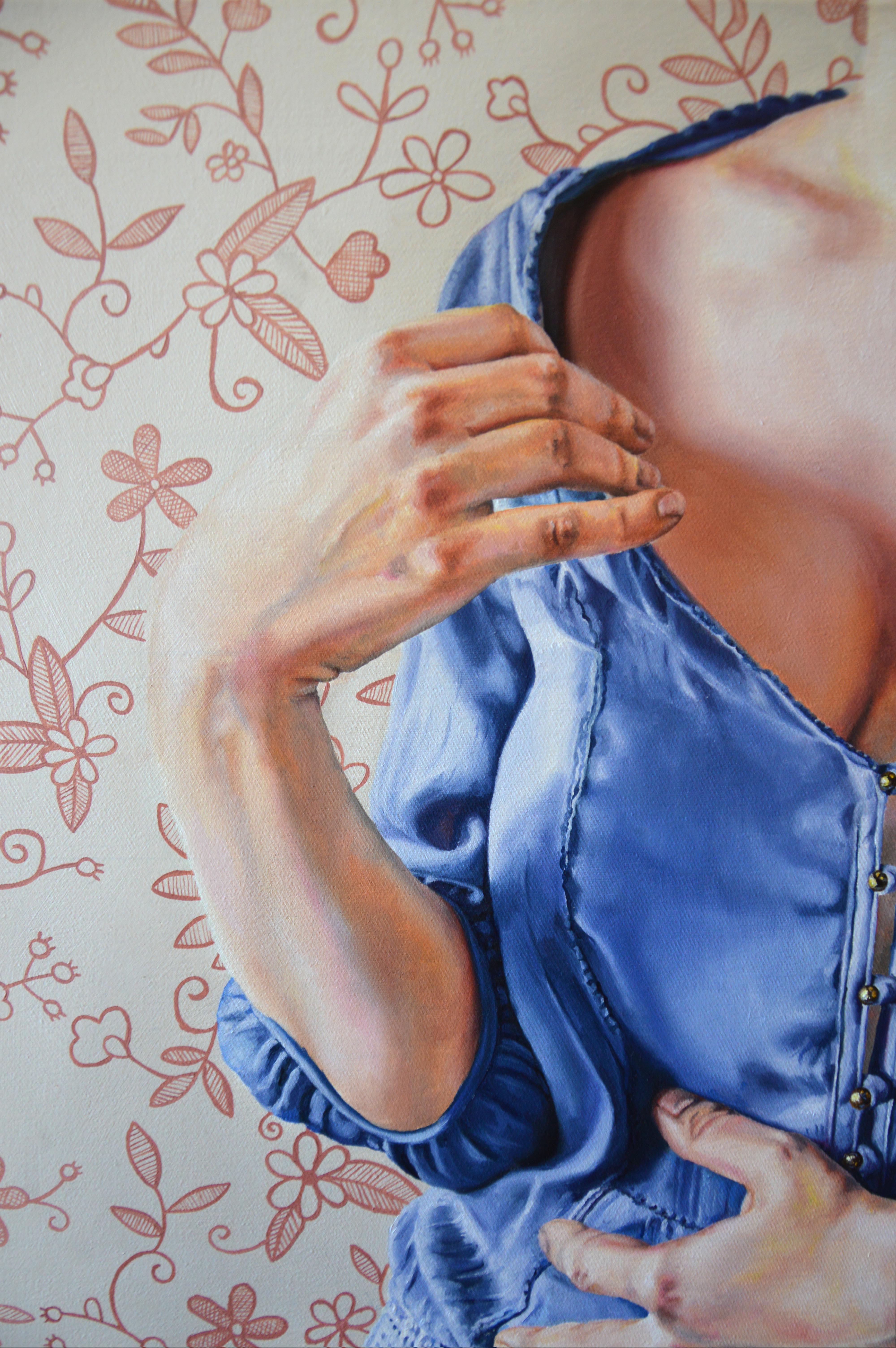 malerier, farverige, figurative, pop, kroppe, mønstre, mennesker, seksualitet, beige, blå, guld, pastel, røde,  bomuldslærred, olie, smukke, tøj, samtidskunst, dekorative, erotiske, kvindelig, feminist, interiør, bolig-indretning, moderne, moderne-kunst, realisme, romantiske, kvinder, Køb original kunst og kunstplakater. Malerier, tegninger, limited edition kunsttryk & plakater af dygtige kunstnere.