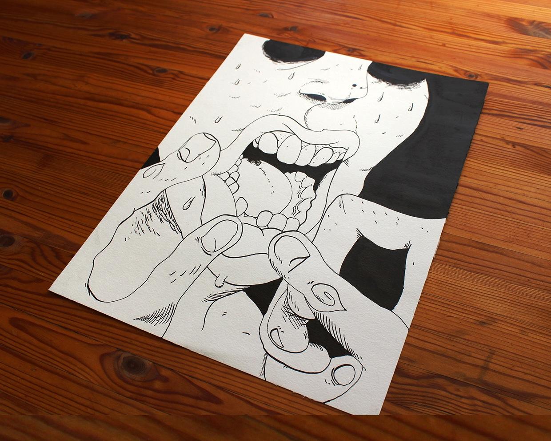 tegninger, grafiske, illustrative, monokrome, portræt, tegneserier, stemninger, mennesker, seksualitet, sorte, grå, hvide, artliner, blæk, papir, tusch, ansigter, mandlig, Køb original kunst og kunstplakater. Malerier, tegninger, limited edition kunsttryk & plakater af dygtige kunstnere.