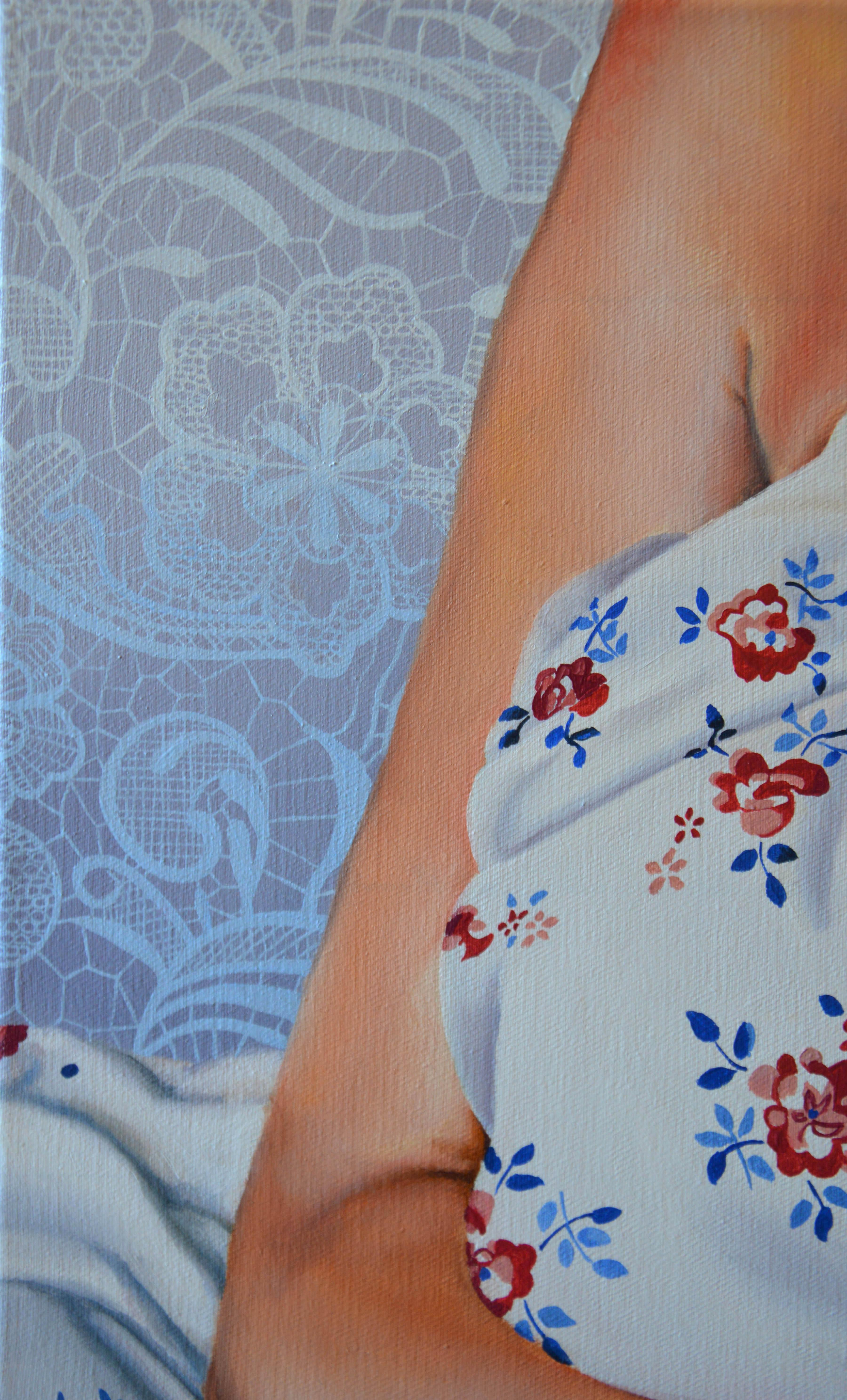 malerier, figurative, portræt, kroppe, mønstre, seksualitet, tekstiler, blå, pastel, pink, røde, hvide,  bomuldslærred, olie, samtidskunst, dekorative, kvindelig, feminist, interiør, bolig-indretning, moderne, moderne-kunst, romantiske, seksuel, kvinder, Køb original kunst og kunstplakater. Malerier, tegninger, limited edition kunsttryk & plakater af dygtige kunstnere.