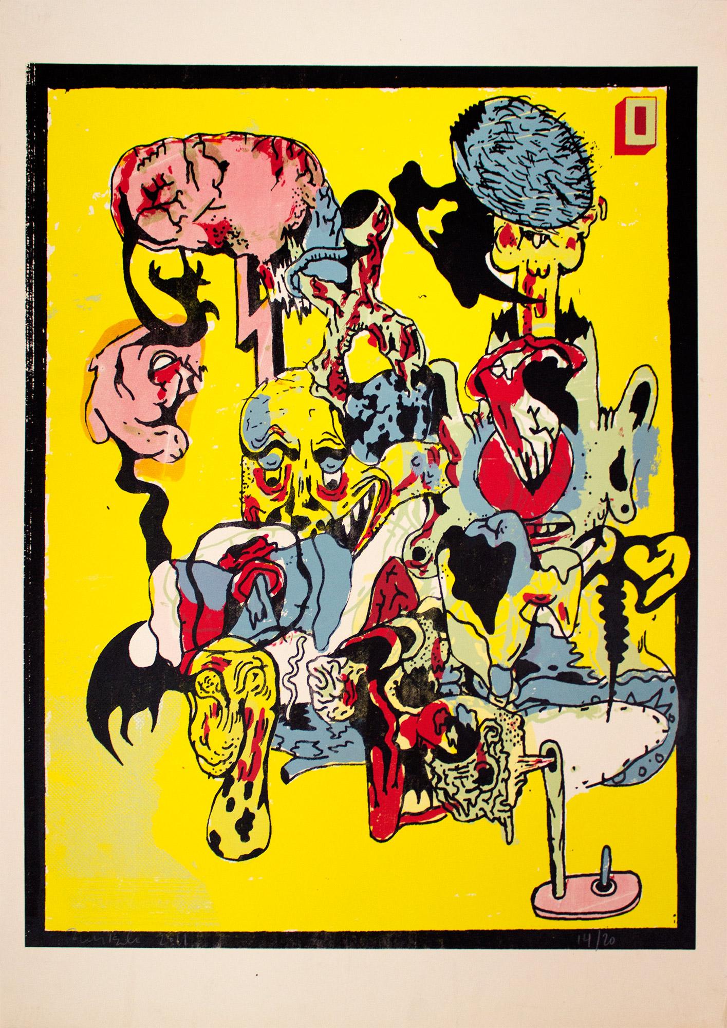 plakater, silketryk, farverige, grafiske, illustrative, surrealistiske, tegneserier, bevægelse, sorte, blå, røde, gule, blæk, papir, abstrakte-former, samtidskunst, københavn, dansk, design, interiør, bolig-indretning, moderne, moderne-kunst, nordisk, plakater, skandinavisk, levende, Køb original kunst og kunstplakater. Malerier, tegninger, limited edition kunsttryk & plakater af dygtige kunstnere.
