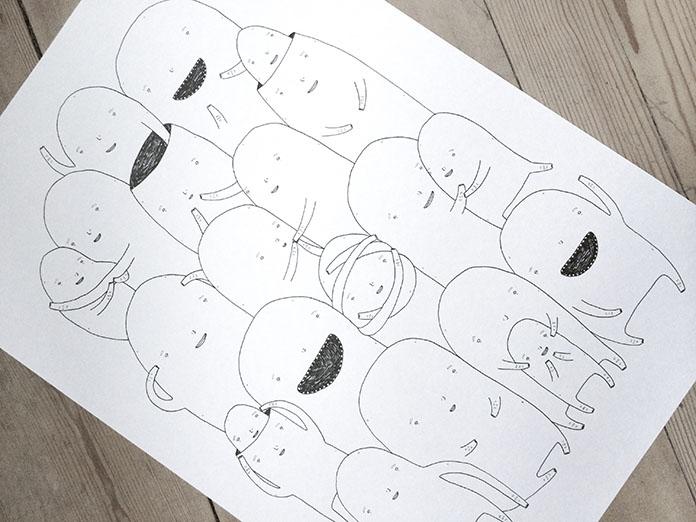 tegninger, dyr, børnevenlige, grafiske, monokrome, pop, tegneserier, humor, kæledyr, sorte, hvide, artliner, papir, sjove, københavn, dansk, dekorative, design, interiør, bolig-indretning, nordisk, skandinavisk, street-art, Køb original kunst og kunstplakater. Malerier, tegninger, limited edition kunsttryk & plakater af dygtige kunstnere.
