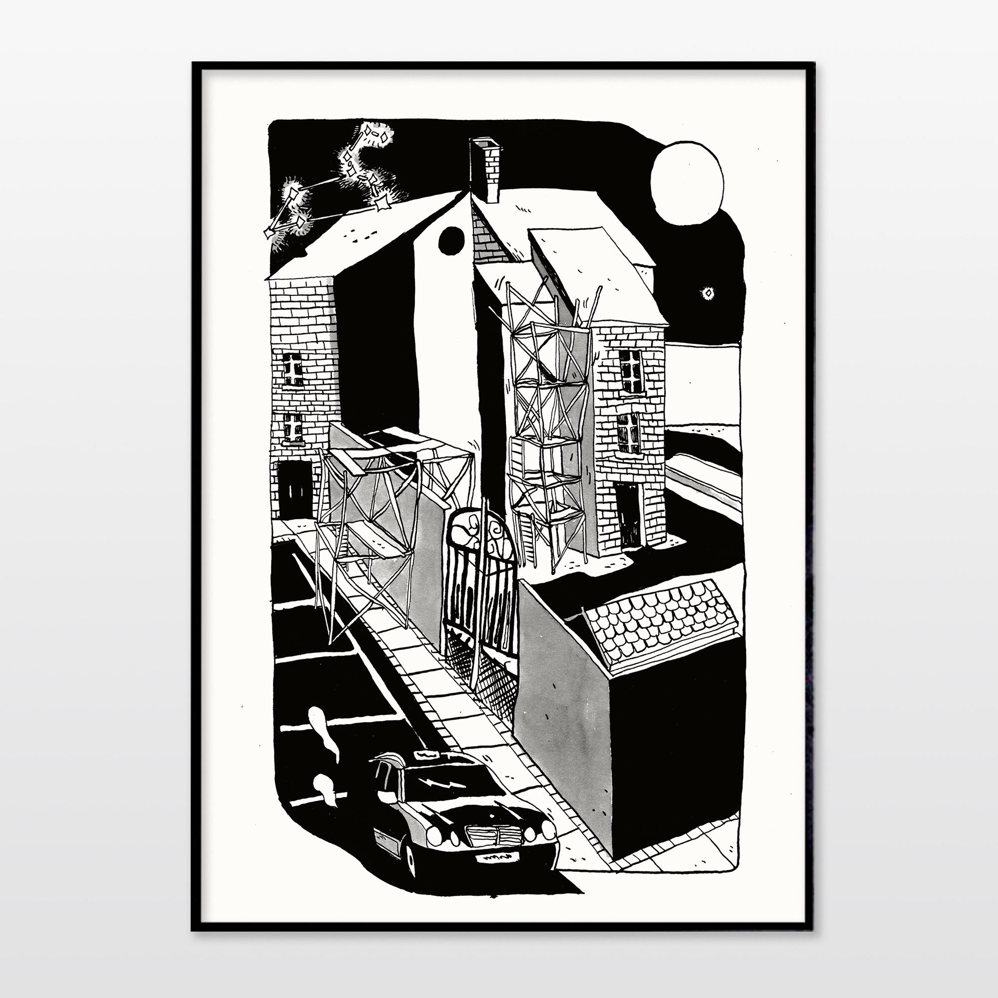 plakater-posters-kunsttryk, giclee-tryk, grafiske, illustrative, monokrome, arkitektur, tegneserier, bevægelse, transportmidler, sorte, hvide, blæk, papir, sort-hvide, biler, samtidskunst, københavn, dansk, design, moderne, moderne-kunst, nordisk, plakater, tryk, skandinavisk, tid, køretøjer, Køb original kunst og kunstplakater. Malerier, tegninger, limited edition kunsttryk & plakater af dygtige kunstnere.