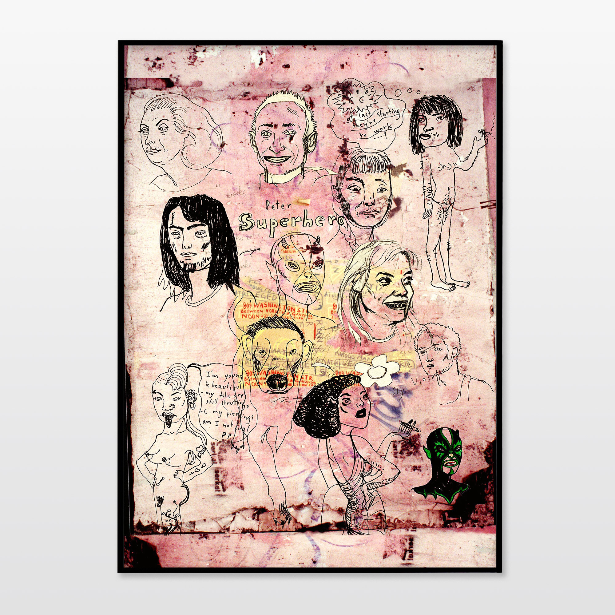 plakater-posters-kunsttryk, giclee-tryk, figurative, portræt, kroppe, humor, kæledyr, sorte, pink, blæk, papir, sjove, samtidskunst, dansk, dekorative, design, hunde, ansigter, interiør, bolig-indretning, mænd, moderne, moderne-kunst, nordisk, skandinavisk, Køb original kunst og kunstplakater. Malerier, tegninger, limited edition kunsttryk & plakater af dygtige kunstnere.