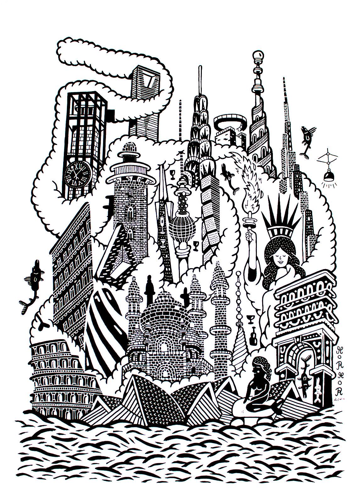 kunsttryk, gliceé, geometriske, monokrome, arkitektur, humor, havet, sorte, hvide, blæk, papir, sjove, arkitektoniske, sort-hvide, dansk, dekorative, design, fisk, interiør, bolig-indretning, nordisk, skandinavisk, vand, Køb original kunst og kunstplakater. Malerier, tegninger, limited edition kunsttryk & plakater af dygtige kunstnere.