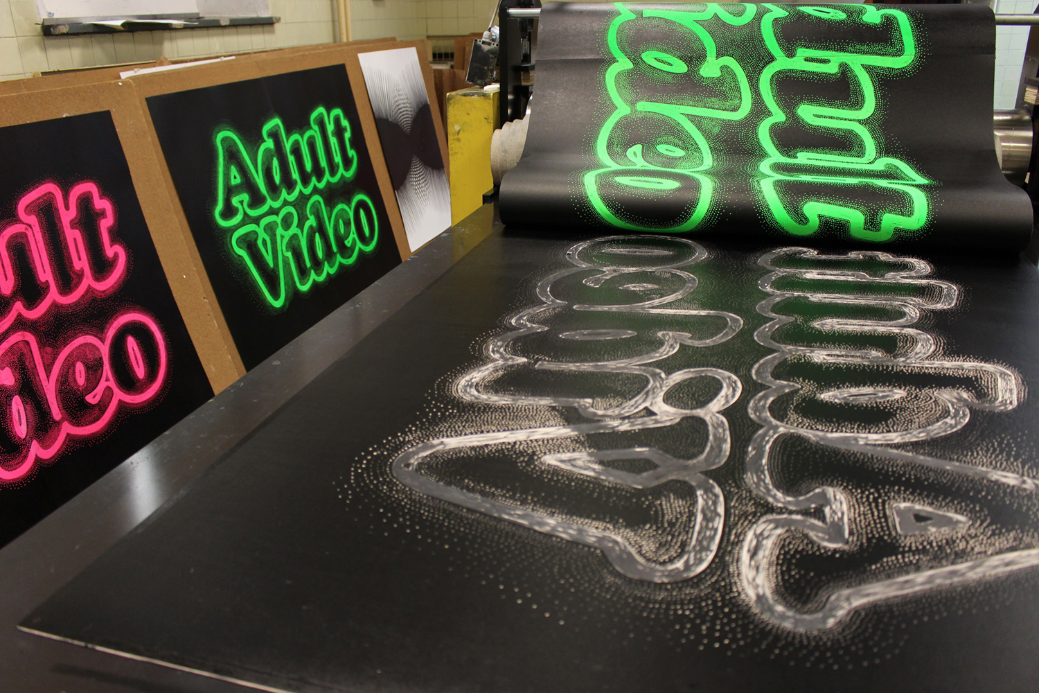 ADULT VIDEO linocut_printing process