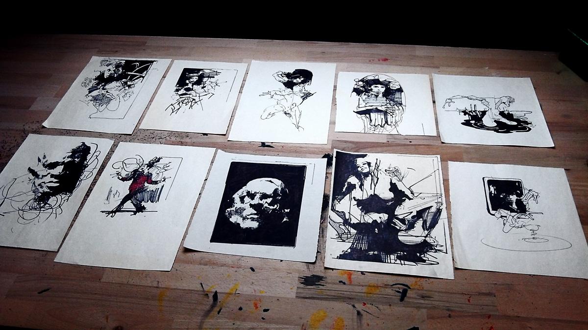 Sort hvid illustrationer perfekt til hjemmet bolig indretning, original kunst, gave ide, gallerier, dygtige kunstnere, tegnere