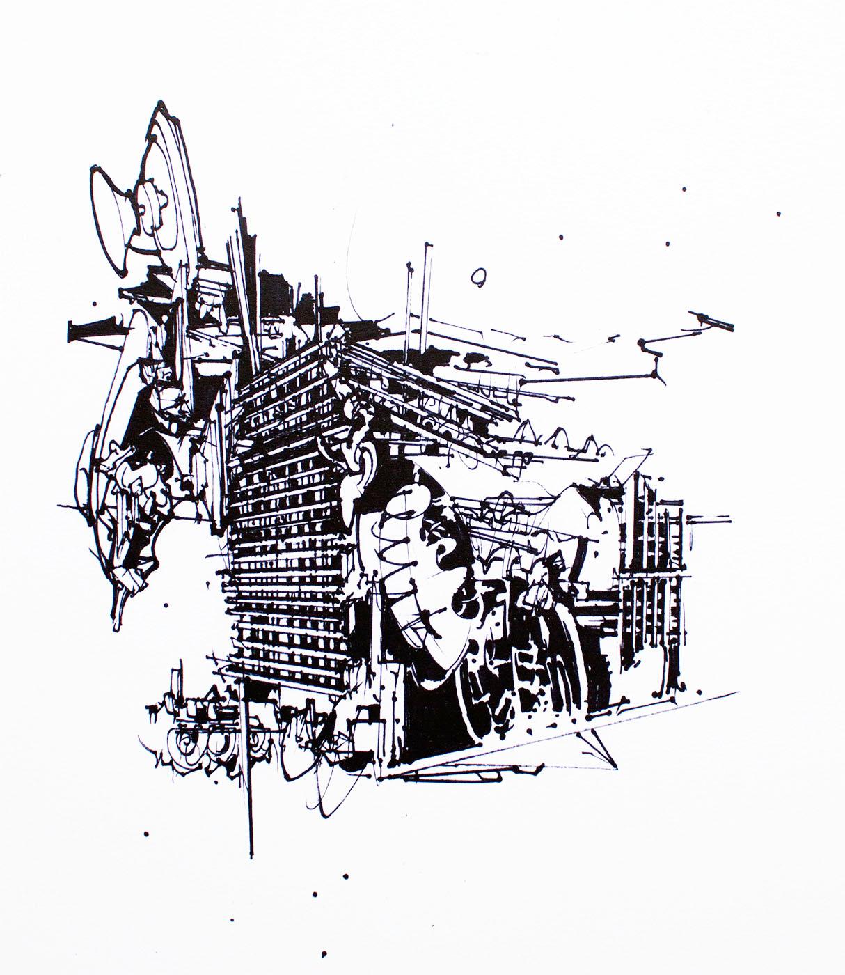 plakater-posters-kunsttryk, giclee-tryk, abstrakte, geometriske, monokrome, arkitektur, mønstre, sorte, hvide, blæk, papir, abstrakte-former, arkitektoniske, sort-hvide, Køb original kunst og kunstplakater. Malerier, tegninger, limited edition kunsttryk & plakater af dygtige kunstnere.
