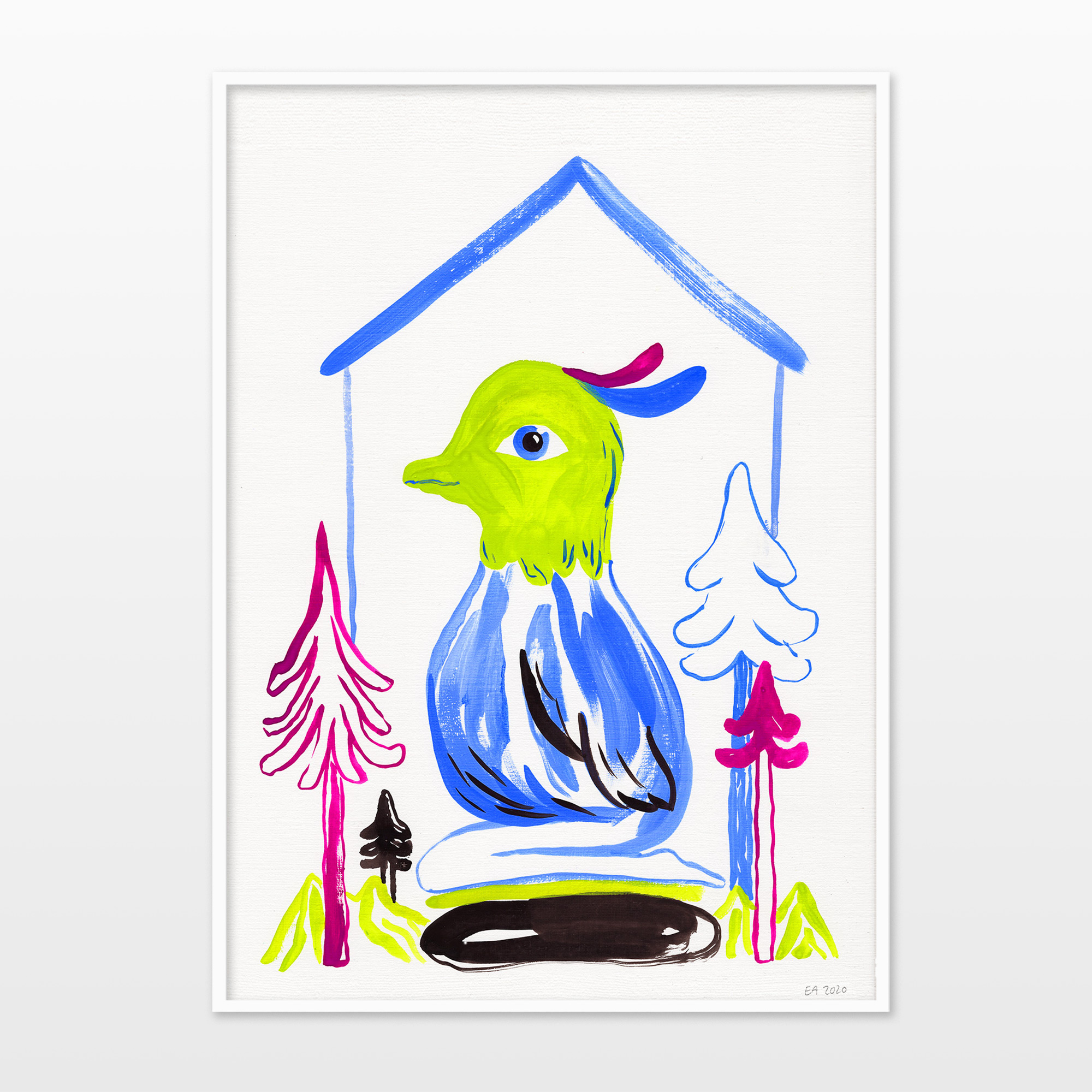 tegninger, akvarel-malerier, collager, farverige, børnevenlige, figurative, illustrative, minimalistiske, dyreliv, botanik, natur, vilde-dyr, blå, grønne, violette, blæk, papir, akvarel, fugle, samtidskunst, sød, dansk, dekorative, design, interiør, bolig-indretning, moderne, nordisk, planter, tryk, skandinavisk, Køb original kunst og kunstplakater. Malerier, tegninger, limited edition kunsttryk & plakater af dygtige kunstnere.
