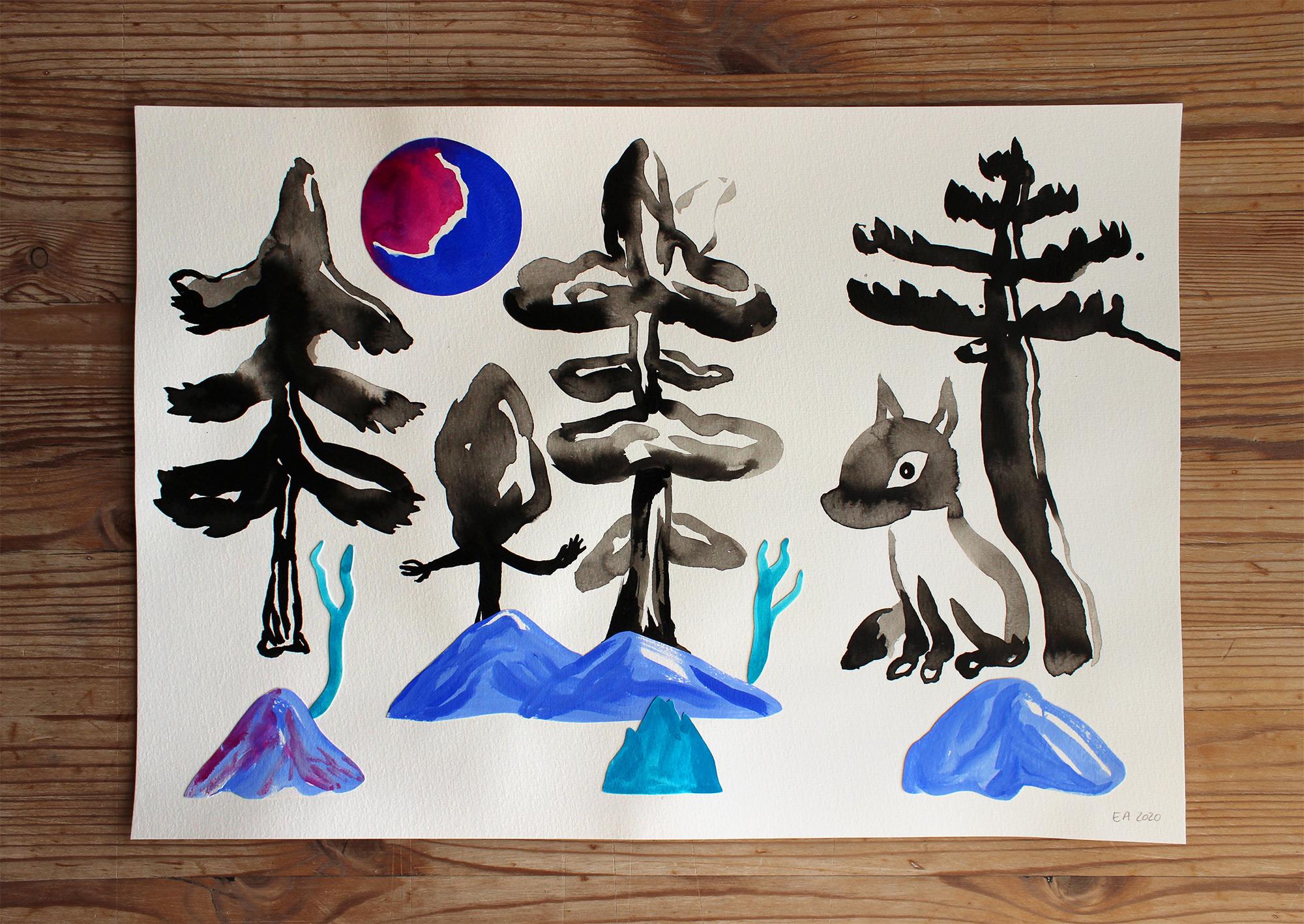 tegninger, gouache-malerier, akvarel-malerier, farverige, børnevenlige, figurative, landskab, minimalistiske, pop, dyreliv, botanik, natur, vilde-dyr, sorte, blå, gouache, blæk, papir, smukke, dansk, dekorative, design, skov, interiør, bolig-indretning, moderne, bjerge, nordisk, planter, plakater, flotte, tryk, skandinavisk, Køb original kunst og kunstplakater. Malerier, tegninger, limited edition kunsttryk & plakater af dygtige kunstnere.