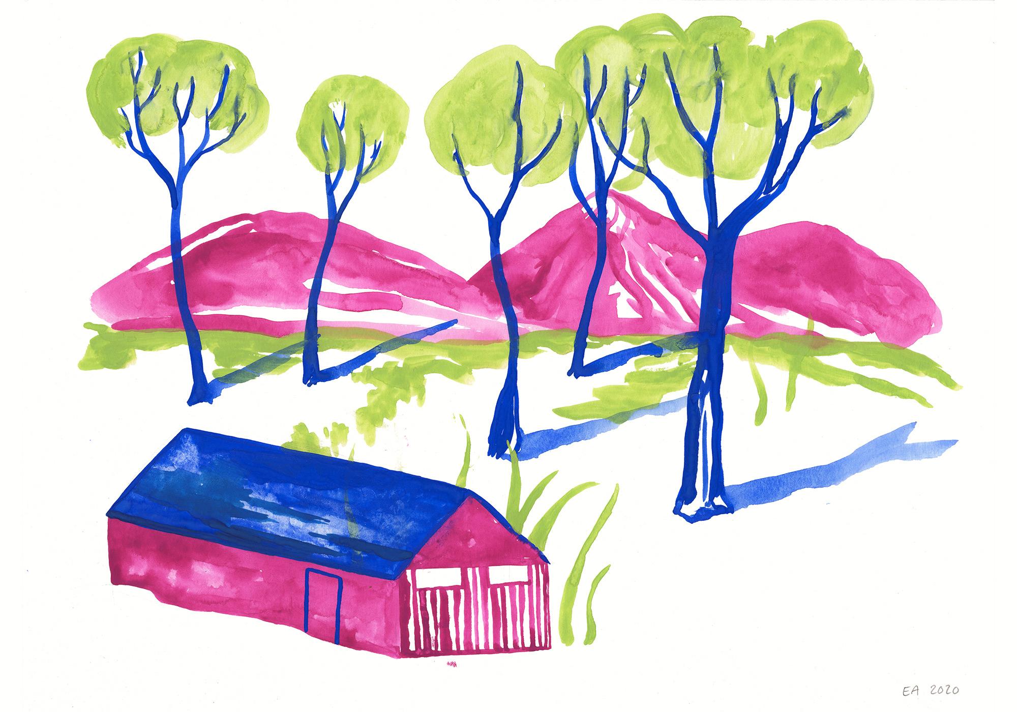 tegninger, gouache-malerier, akvarel-malerier, æstetiske, figurative, grafiske, illustrative, landskab, pop, arkitektur, botanik, natur, mennesker, blå, grønne, violette, gouache, blæk, papir, smukke, dansk, dekorative, design, skov, huse, interiør, bolig-indretning, moderne, bjerge, nordisk, planter, plakater, flotte, tryk, skandinavisk, træer, Køb original kunst og kunstplakater. Malerier, tegninger, limited edition kunsttryk & plakater af dygtige kunstnere.