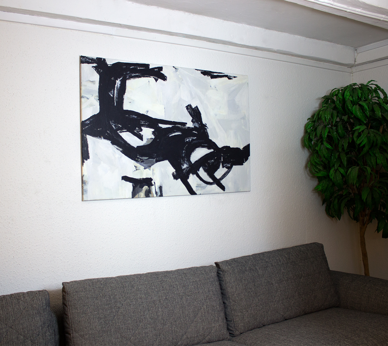 malerier, abstrakte, æstetiske, monokrome, bevægelse, sorte, grå, hvide, akryl,  bomuldslærred, abstrakte-former, smukke, sort-hvide, københavn, dansk, dekorative, interiør, bolig-indretning, nordisk, skandinavisk, Køb original kunst og kunstplakater. Malerier, tegninger, limited edition kunsttryk & plakater af dygtige kunstnere.