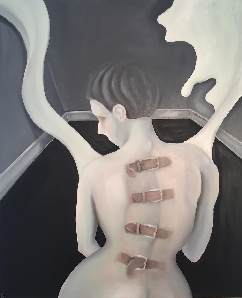 moderne kunst bolig indretning kvium nøgen kvinde spændetrøje bånd ryg