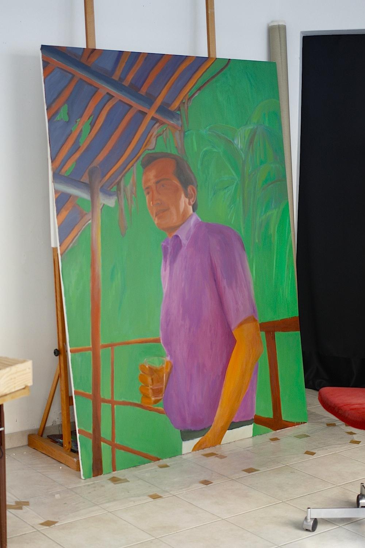 malerier, farverige, figurative, portræt, kroppe, botanik, natur, mennesker, grønne, orange, lillae,  bomuldslærred, olie, ansigter, mænd, levende, Køb original kunst af den højeste kvalitet. Malerier, tegninger, limited edition kunsttryk & plakater af dygtige kunstnere.
