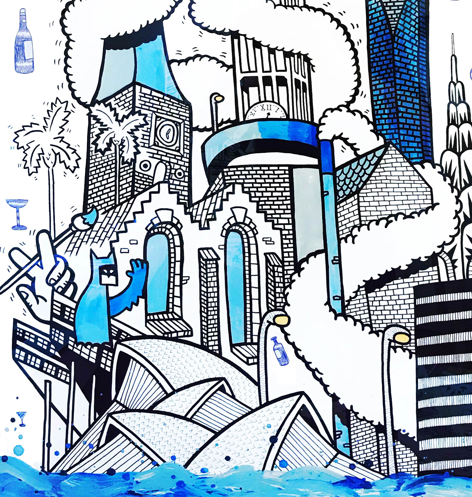 kunsttryk, gliceé, geometriske, pop, arkitektur, humor, sorte, blå, hvide, blæk, papir, abstrakte-former, sjove, arkitektoniske, bygninger, street-art, Køb original kunst af den højeste kvalitet. Malerier, tegninger, limited edition kunsttryk & plakater af dygtige kunstnere.