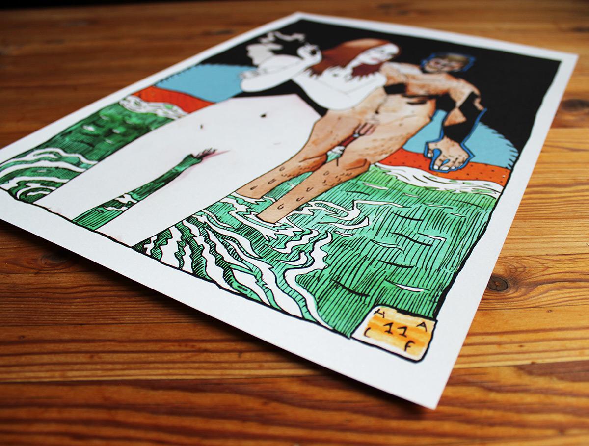 plakater-posters-kunsttryk, giclee-tryk, figurative, grafiske, illustrative, portræt, kroppe, tegneserier, mennesker, seksualitet, sorte, blå, brune, grønne, orange, blæk, papir, samtidskunst, dansk, dekorative, design, erotiske, interiør, bolig-indretning, mænd, moderne, moderne-kunst, nordisk, nøgen, plakater, skandinavisk, seksuel, skitse, Køb original kunst og kunstplakater. Malerier, tegninger, limited edition kunsttryk & plakater af dygtige kunstnere.