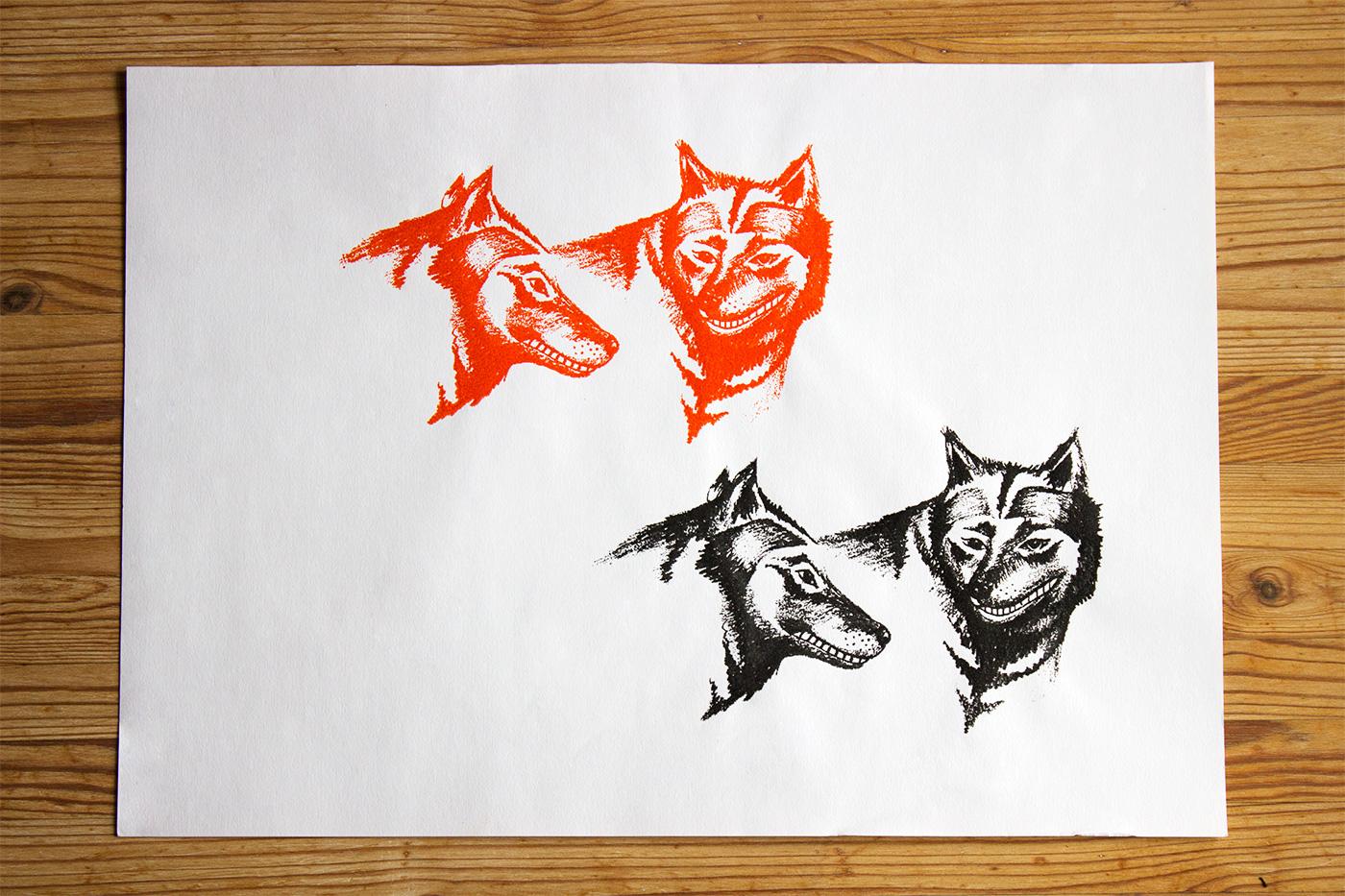 kunsttryk, silketryk, dyr, grafiske, dyreliv, humor, sorte, røde, blæk, papir, sjove, dekorative, interiør, bolig-indretning, Køb original kunst og kunstplakater. Malerier, tegninger, limited edition kunsttryk & plakater af dygtige kunstnere.