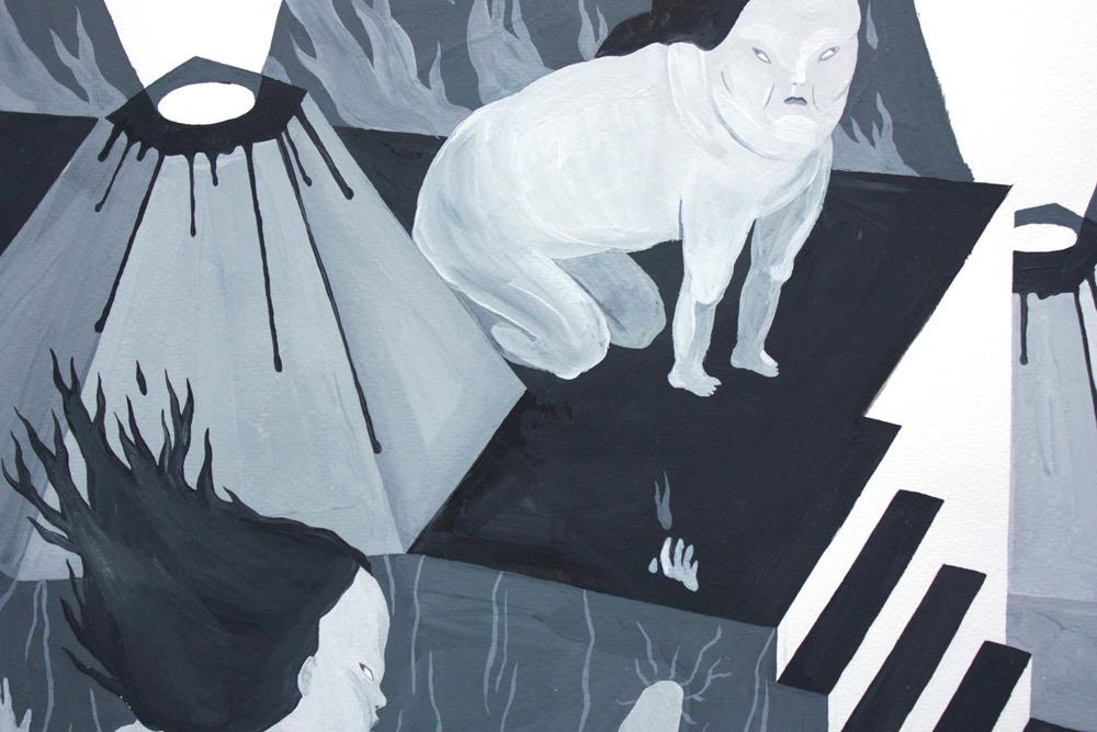 tegninger, gouache, akvareller, illustrative, monokrome, portræt, surrealistiske, kroppe, tegneserier, stemninger, natur, sorte, grå, hvide, gouache, papir, sort-hvide, dansk, mørke, dekorative, design, interiør, bolig-indretning, nordisk, skandinavisk, kvinder, Køb original kunst og kunstplakater. Malerier, tegninger, limited edition kunsttryk & plakater af dygtige kunstnere.