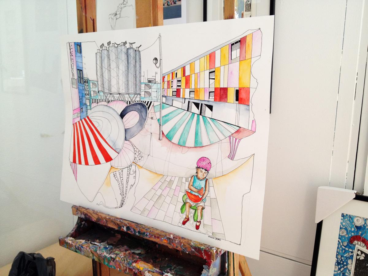 illustrationer. Udtryksfuldt moderne kunst. bygninger, farver, vandmelon. talentfulde kunstnere, online kunstgalleri.