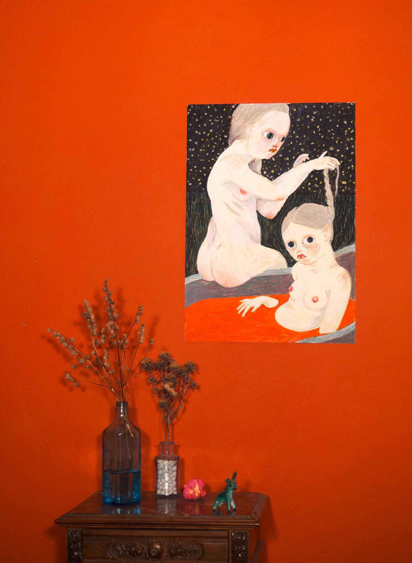 tegninger, farverige, ekspressionistiske, illustrative, portræt, kroppe, stemninger, natur, seksualitet, beige, sorte, brune, røde, papir, olie, samtidskunst, mørke, erotiske, kvindelig, feminist, have, piger, interiør, bolig-indretning, moderne, moderne-kunst, nat, skandinavisk, teenage, kvinder, Køb original kunst og kunstplakater. Malerier, tegninger, limited edition kunsttryk & plakater af dygtige kunstnere.
