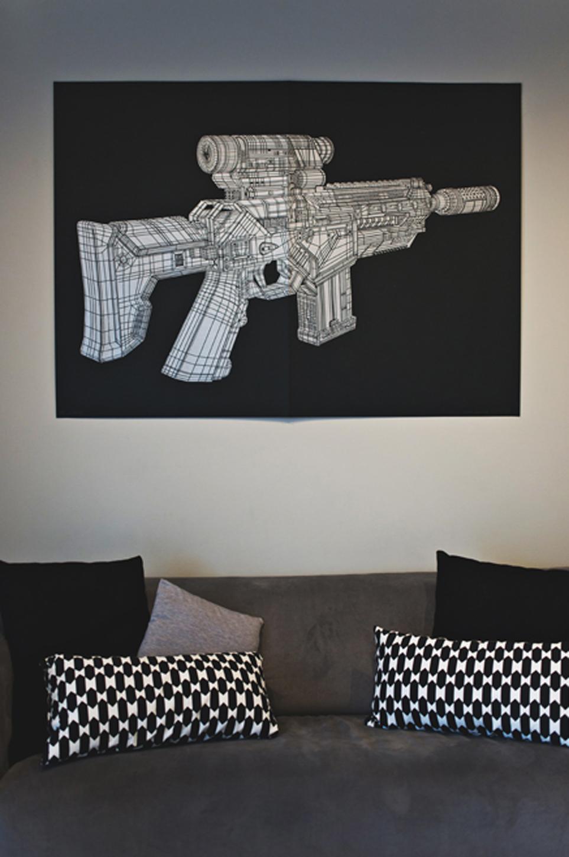 GUN linocut_interior