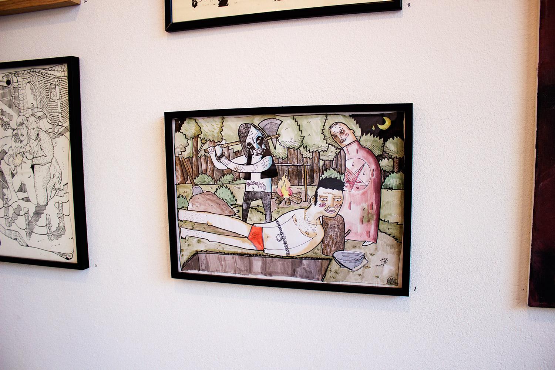 vold kill halshugning måne satan stærke og udtryksfulde kunst illustrationer og tegninger, dygtig dansk illustrator, tegner, faverige