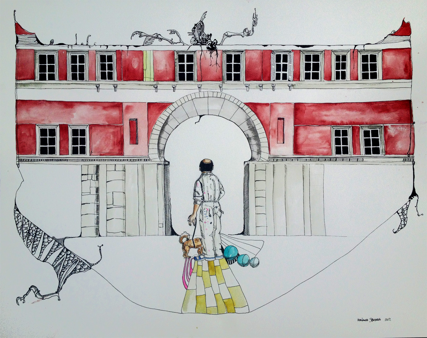 illustrationer. Udtryksfuldt moderne kunst. bygninger, farver, arbejder, rød bygning. talentfulde kunstnere, online kunstgalleri.
