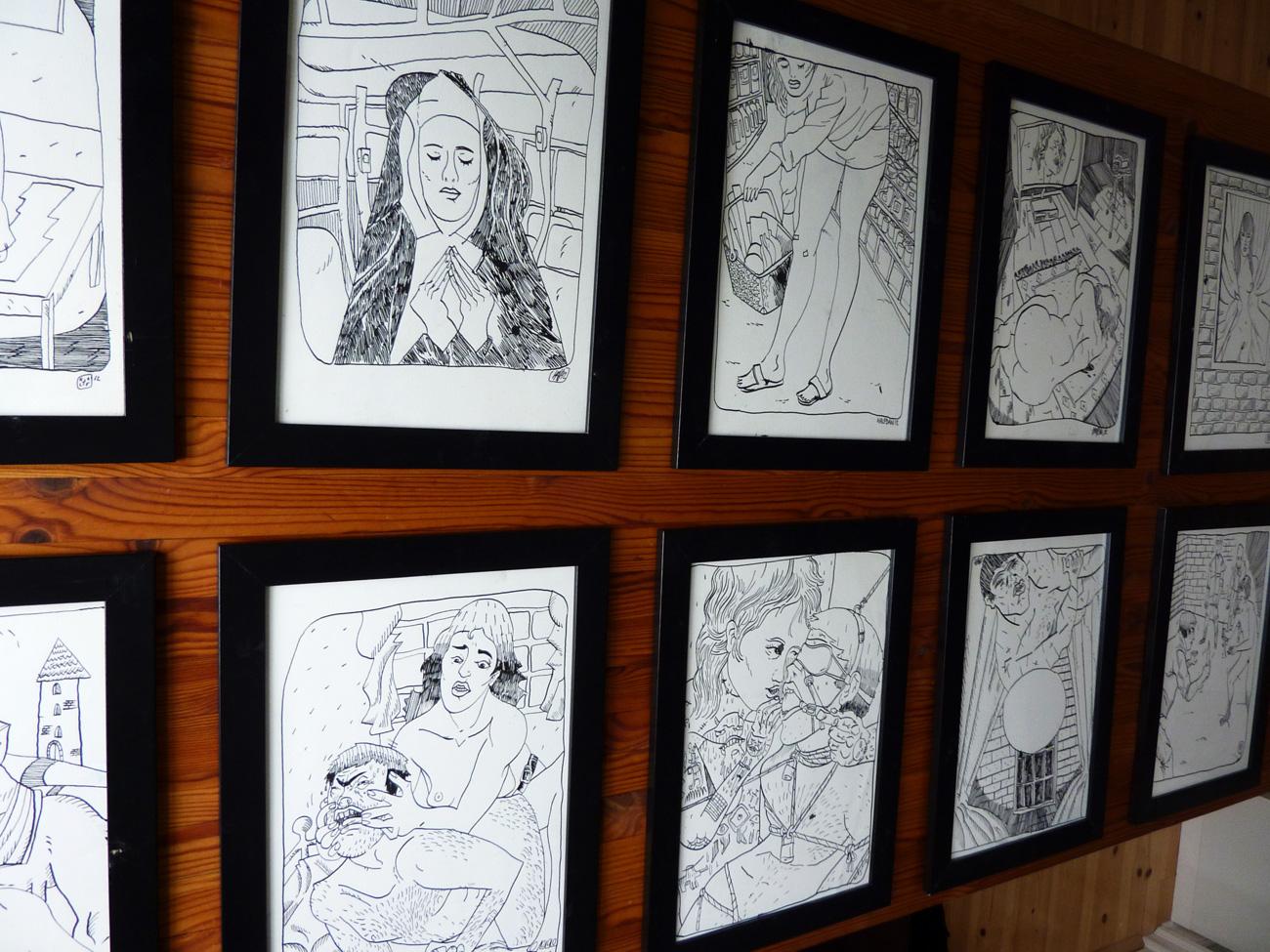 tegninger, figurative, illustrative, portræt, kroppe, tegneserier, stemninger, seksualitet, sorte, hvide, papir, tusch, erotiske, mænd, nøgen, seksuel, skitse, Køb original kunst og kunstplakater. Malerier, tegninger, limited edition kunsttryk & plakater af dygtige kunstnere.