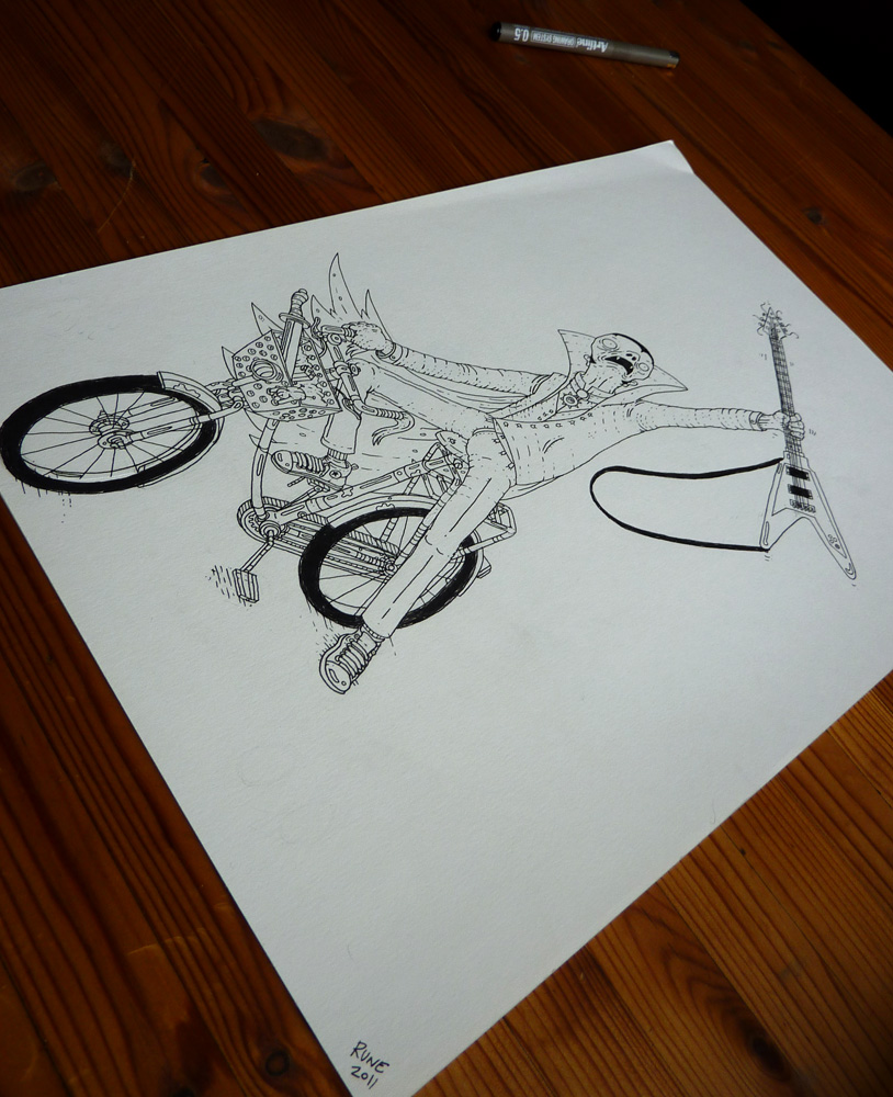 knallert, guitar, cykel, illustrationer og tegninger, kunst, kunstgalleri, galleri, sjov tegning, street art, pop kultur, inspiration,