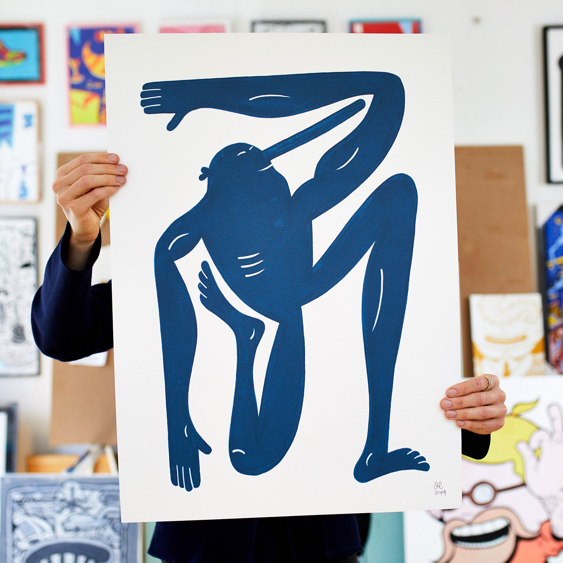 kunsttryk, gicleé, børnevenlige, grafiske, illustrative, monokrome, pop, kroppe, hverdagsliv, humor, bevægelse, mennesker, blå, hvide, blæk, papir, sjove, samtidskunst, københavn, dansk, design, interiør, bolig-indretning, moderne, moderne-kunst, nordisk, plakater, tryk, skandinavisk, Køb original kunst og kunstplakater. Malerier, tegninger, limited edition kunsttryk & plakater af dygtige kunstnere.