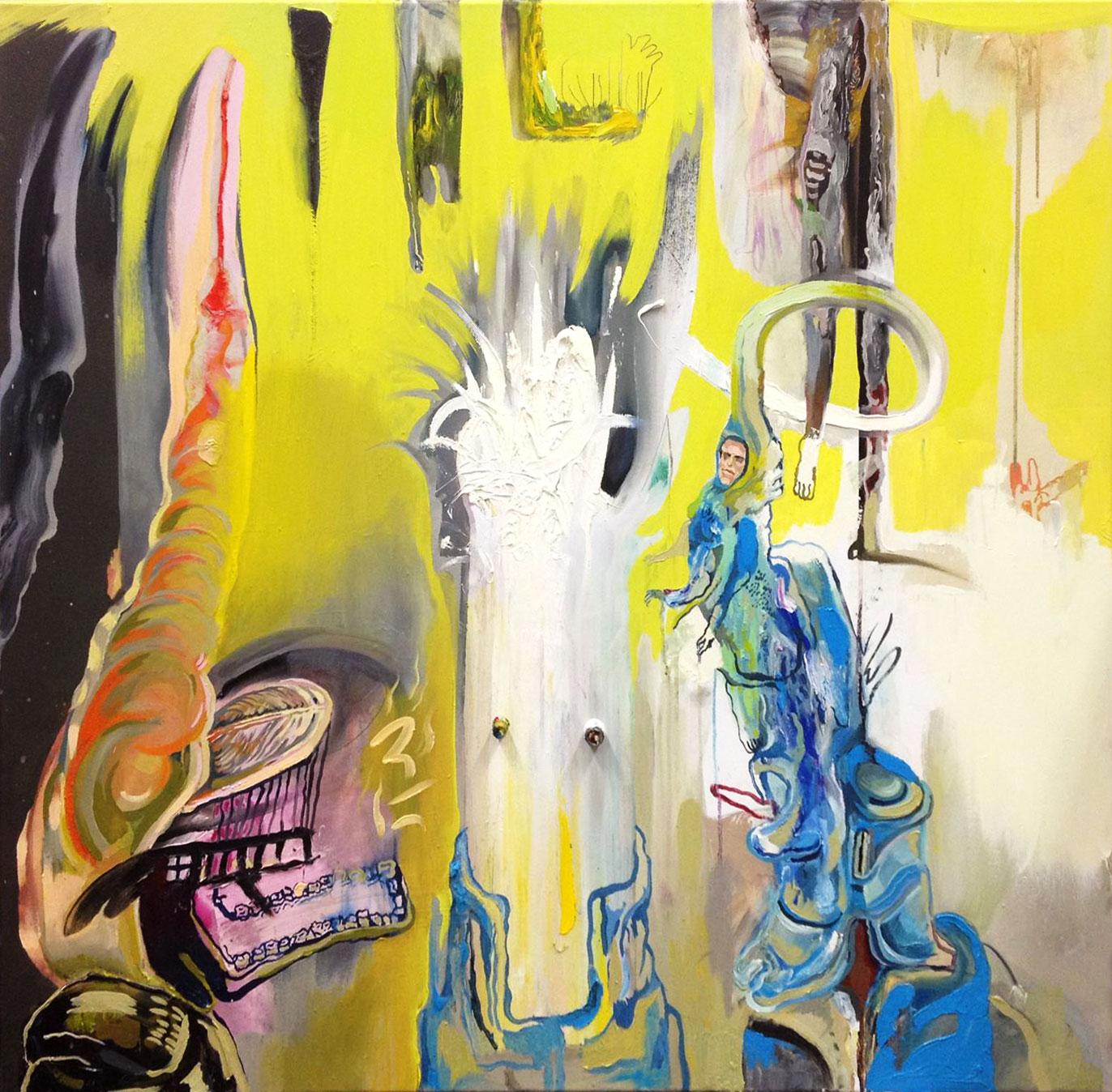 malerier, farverige, ekspressionistiske, stemninger, bevægelse, blå, grå, hvide, gule,  bomuldslærred, tusch, olie, abstrakte-former, ekspressionisme, ansigter, Køb original kunst af den højeste kvalitet. Malerier, tegninger, limited edition kunsttryk & plakater af dygtige kunstnere.