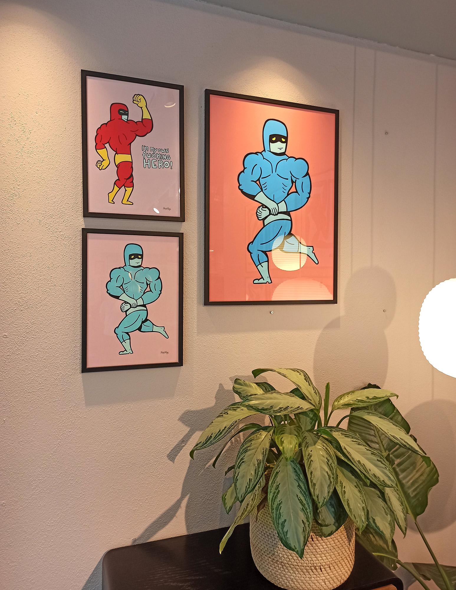 plakater-posters-kunsttryk, giclee-tryk, farverige, børnevenlige, figurative, illustrative, pop, kroppe, tegneserier, humor, mennesker, blå, pink, blæk, papir, sjove, drenge, samtidskunst, københavn, dansk, dekorative, design, interiør, bolig-indretning, moderne, moderne-kunst, nordisk, pop-art, plakater, tryk, skandinavisk, street-art, Køb original kunst og kunstplakater. Malerier, tegninger, limited edition kunsttryk & plakater af dygtige kunstnere.