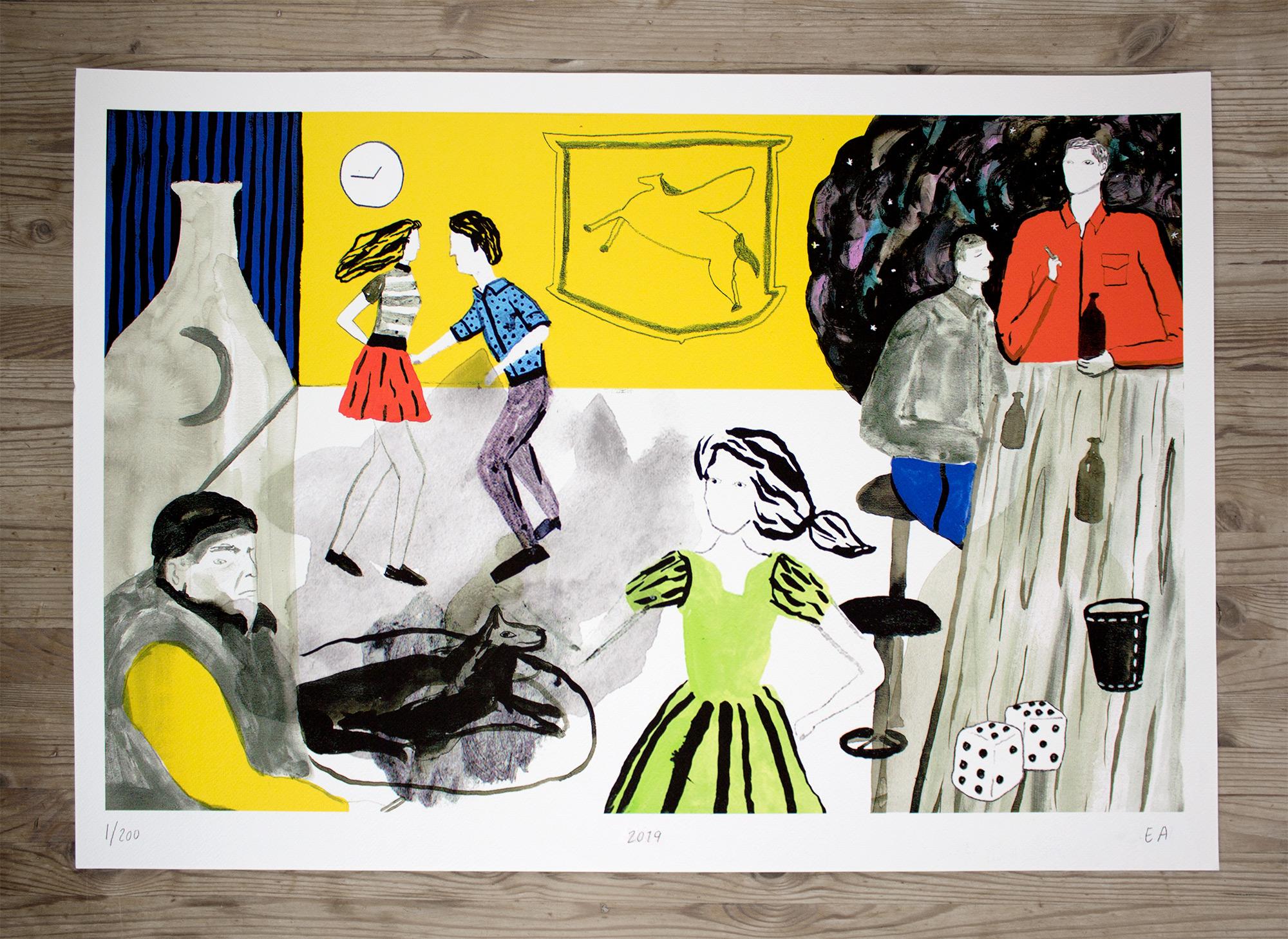 plakater-posters-kunsttryk, giclee-tryk, farverige, illustrative, pop, hverdagsliv, bevægelse, mennesker, sorte, grønne, grå, røde, blæk, papir, samtidskunst, dans, dansk, design, drinks, kvindelig, interiør, bolig-indretning, moderne, moderne-kunst, nordisk, fest, skandinavisk, Køb original kunst og kunstplakater. Malerier, tegninger, limited edition kunsttryk & plakater af dygtige kunstnere.