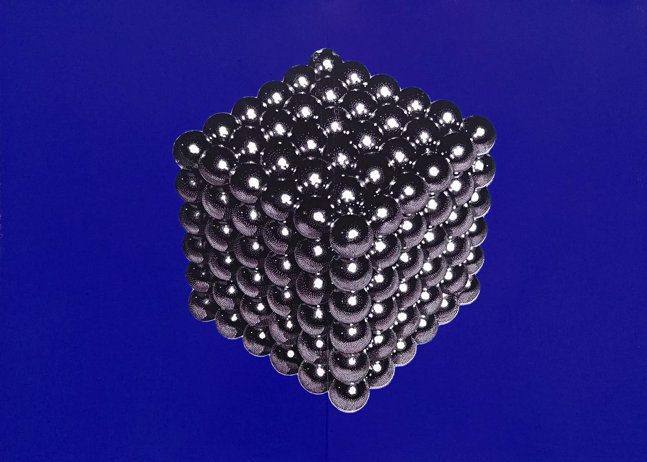 MAGNETIC CUBE linocut_blue