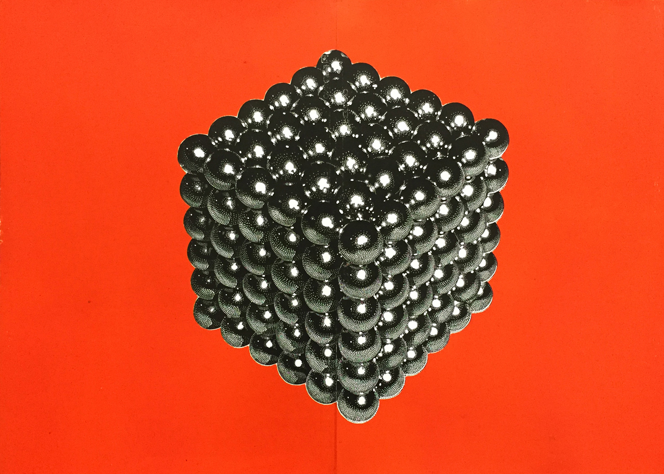 MAGNETIC CUBE linocut_orange
