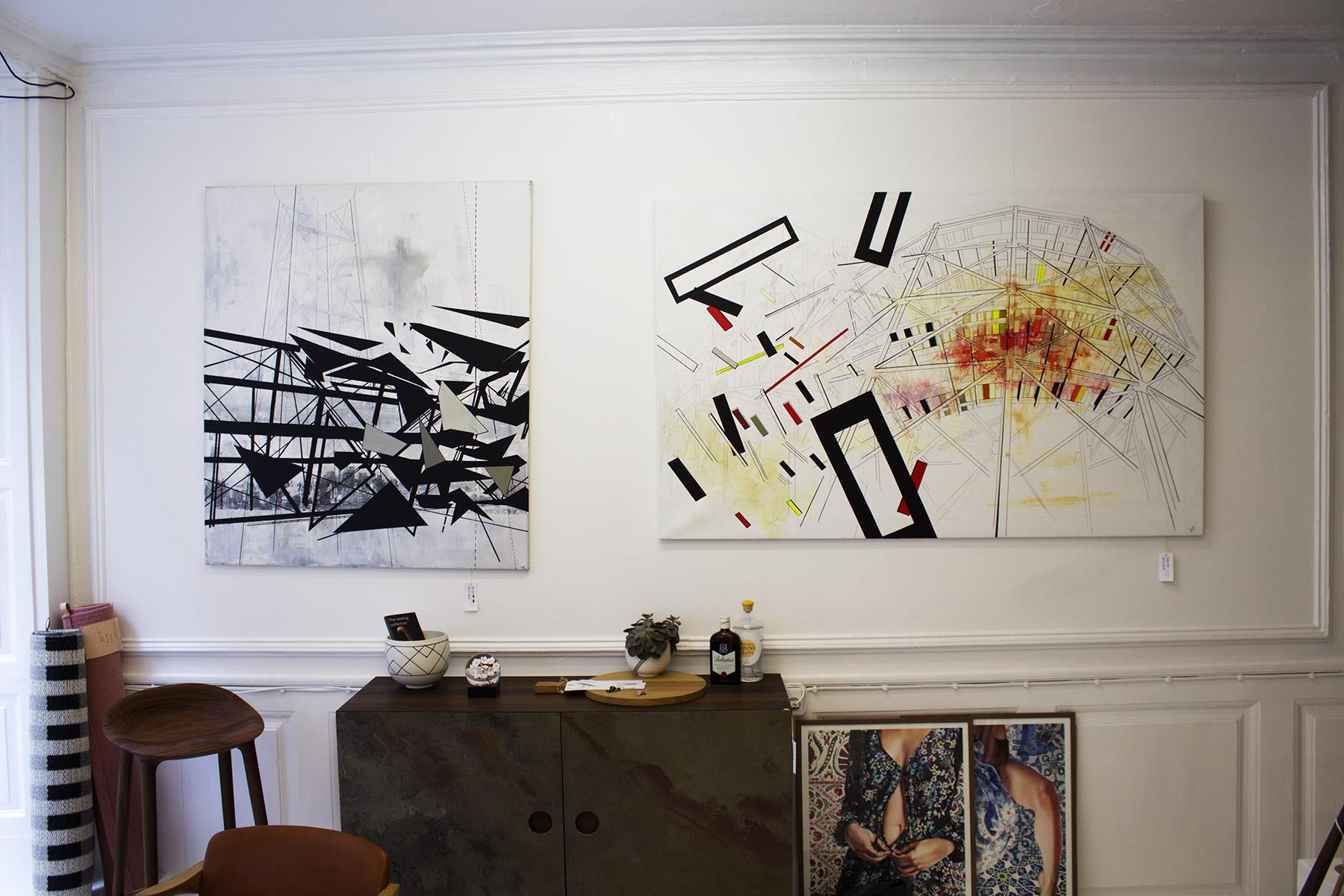 malerier, abstrakte, geometriske, grafiske, arkitektur, sorte, røde, hvide, gule, akryl, tusch, abstrakte-former, arkitektoniske, bygninger, Køb original kunst og kunstplakater. Malerier, tegninger, limited edition kunsttryk & plakater af dygtige kunstnere.