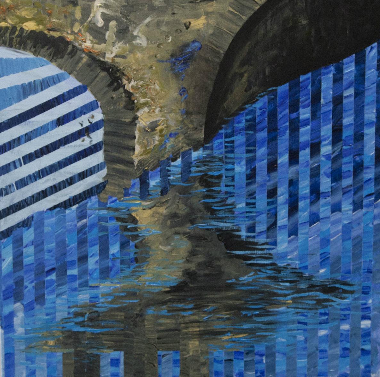 bro vand striber blå farver malerier abstrakt gallerier kunstmalere kunst indretning