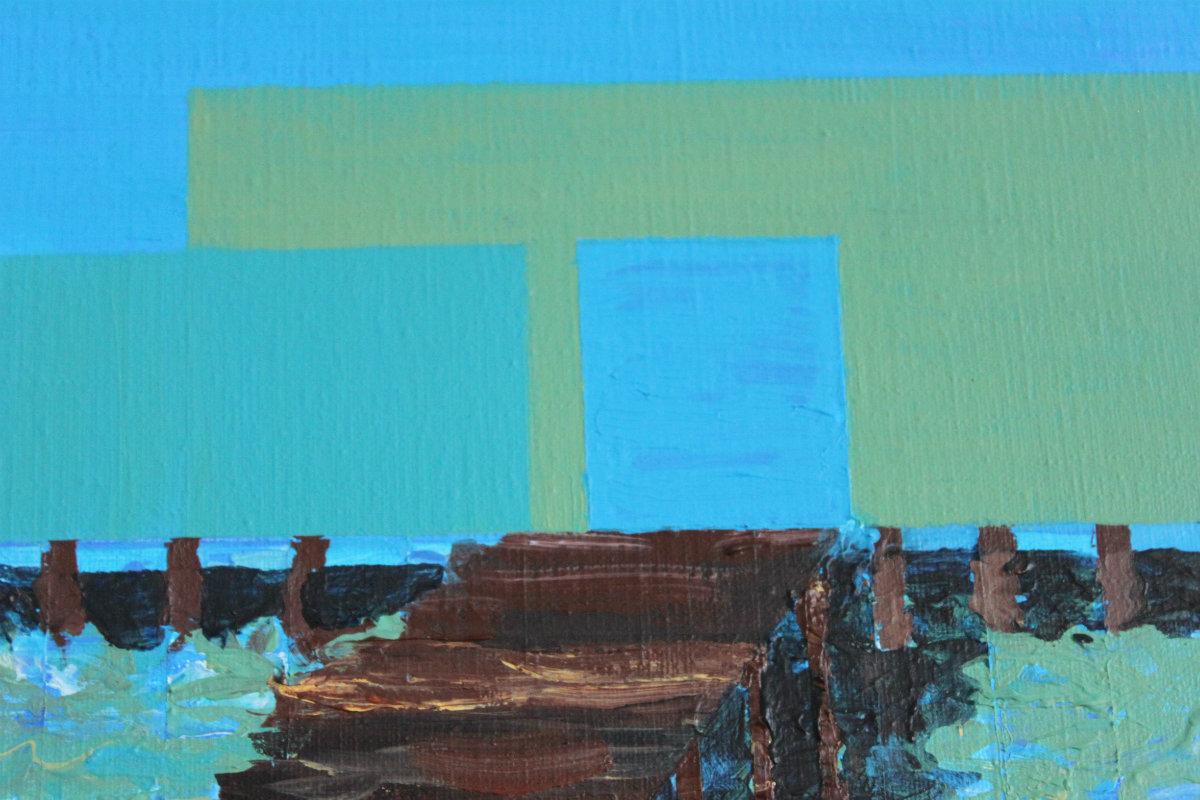 Helgoland badebro vand - galleri kunst malerier kunstnere blå abstrakt
