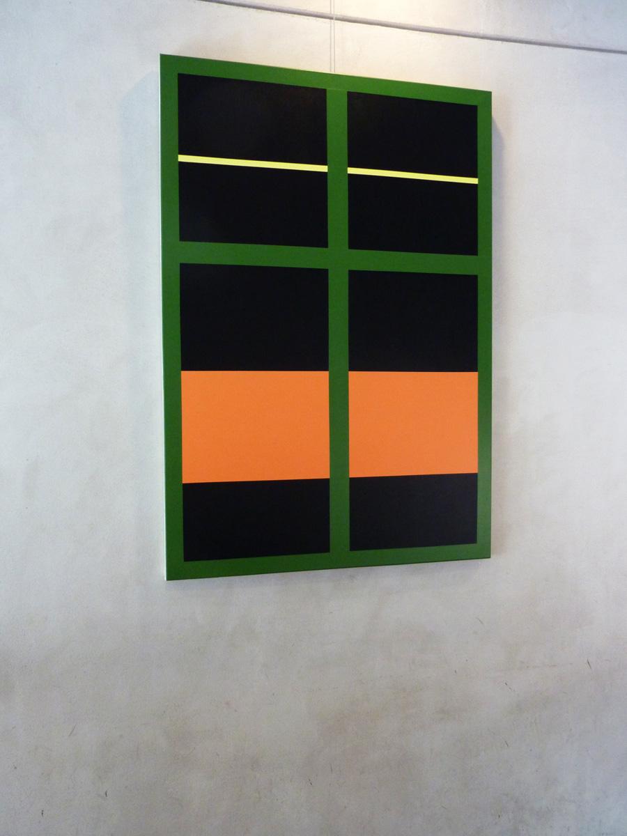 Malerier abstrakte grafiske minimalistiske sorte m rkegr nne orange inside outside 1 - Insulating exterior paint minimalist ...