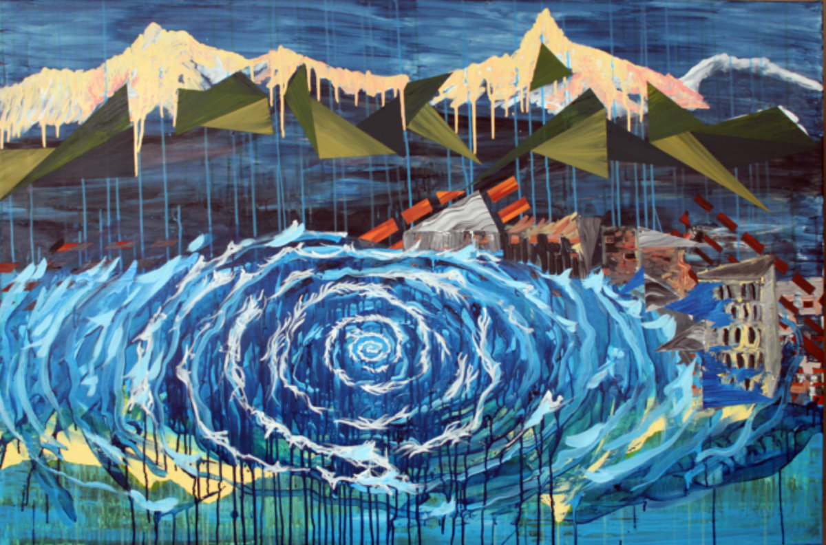 Galleri kunst - vand bjerge undergang