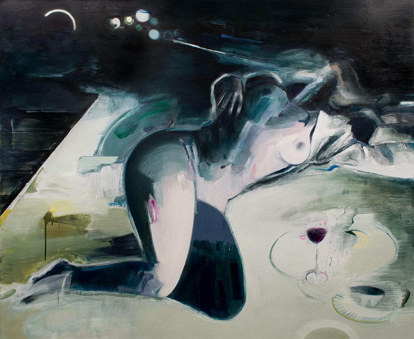 Between breathing and wine. 170x140 cm. Et maleri af Marck Fink
