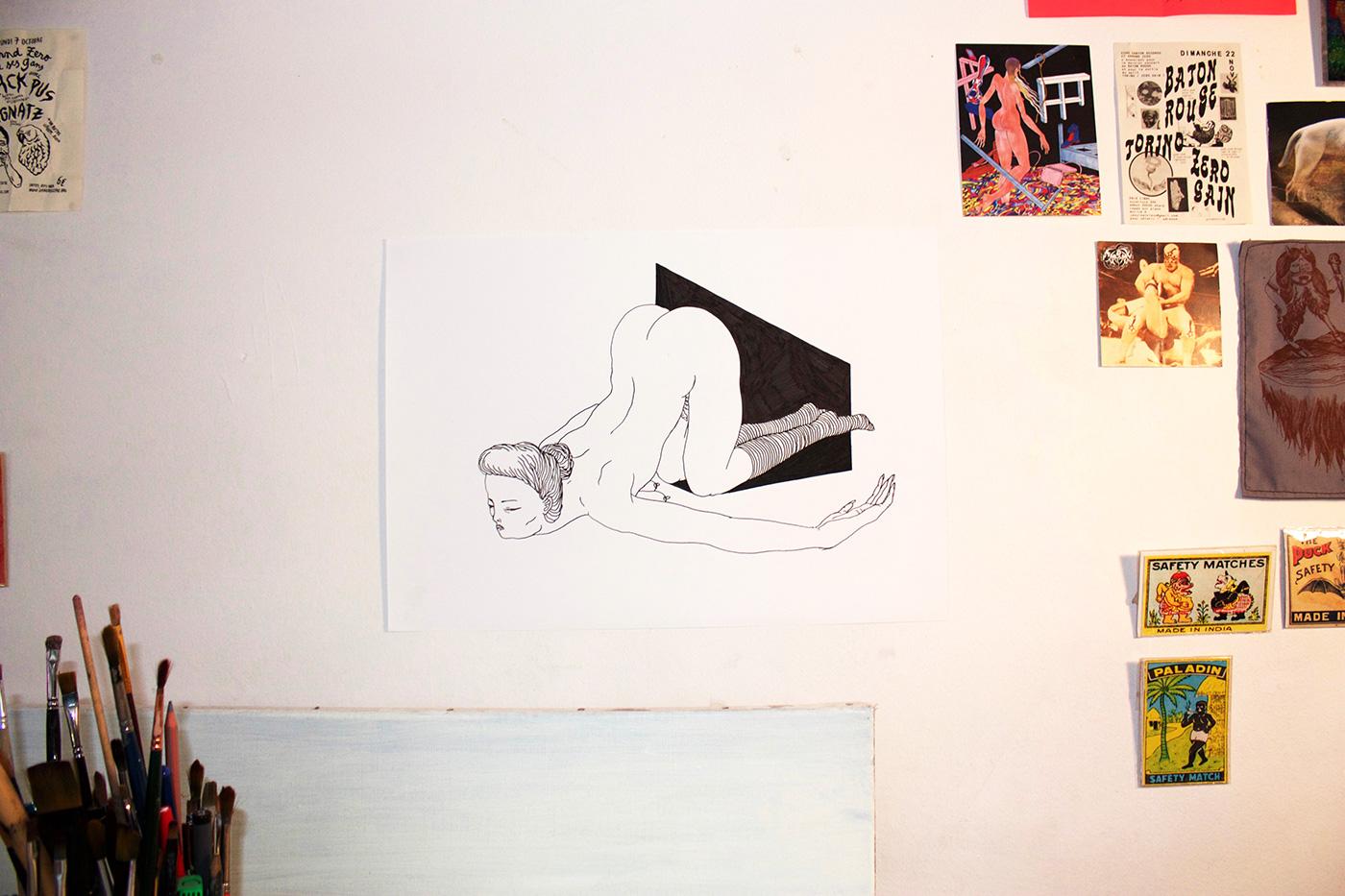 tegninger, figurative, illustrative, monokrome, portræt, kroppe, stemninger, seksualitet, sorte, hvide, artliner, papir, sort-hvide, erotiske, nøgenhed, seksuel, Køb original kunst af den højeste kvalitet. Malerier, tegninger, limited edition kunsttryk & plakater af dygtige kunstnere.