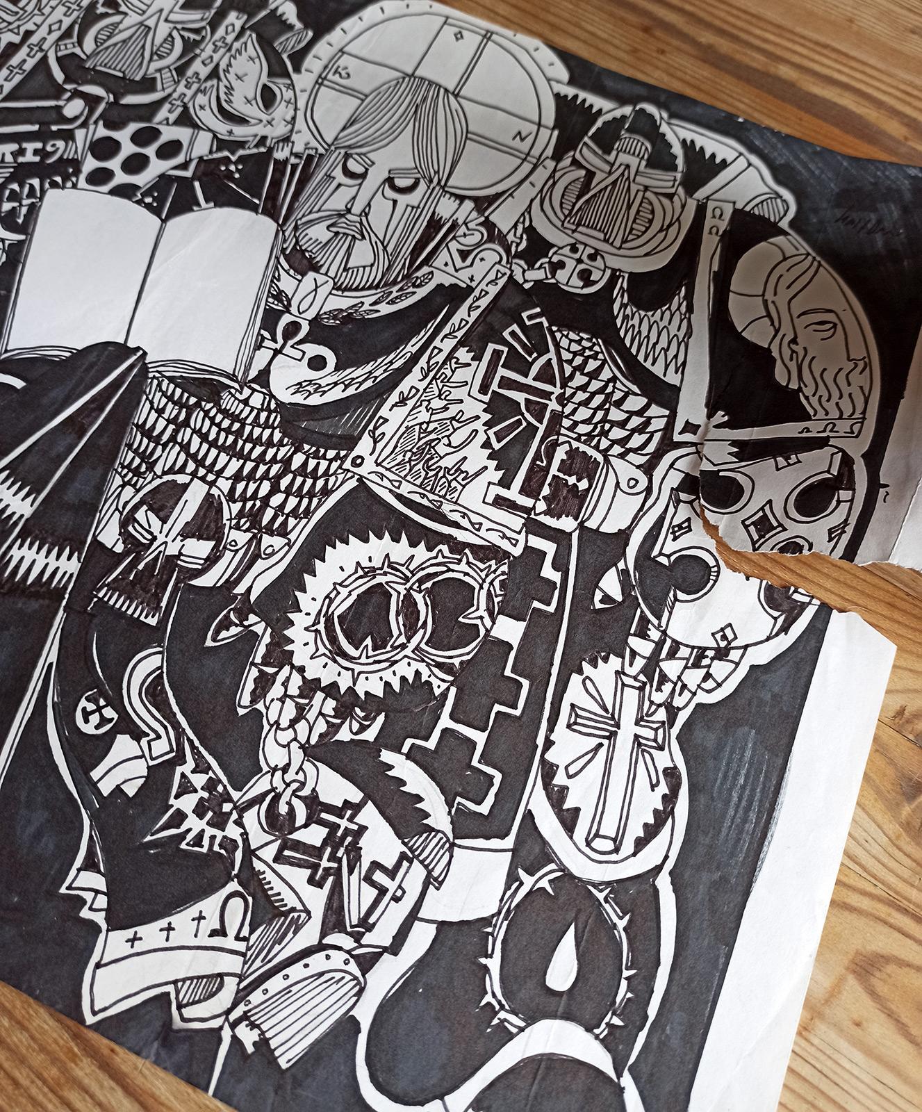 tegninger, ekspressionistiske, figurative, illustrative, mennesker, religion, sorte, hvide, artliner, papir, samtidskunst, moderne, moderne-kunst, Køb original kunst og kunstplakater. Malerier, tegninger, limited edition kunsttryk & plakater af dygtige kunstnere.