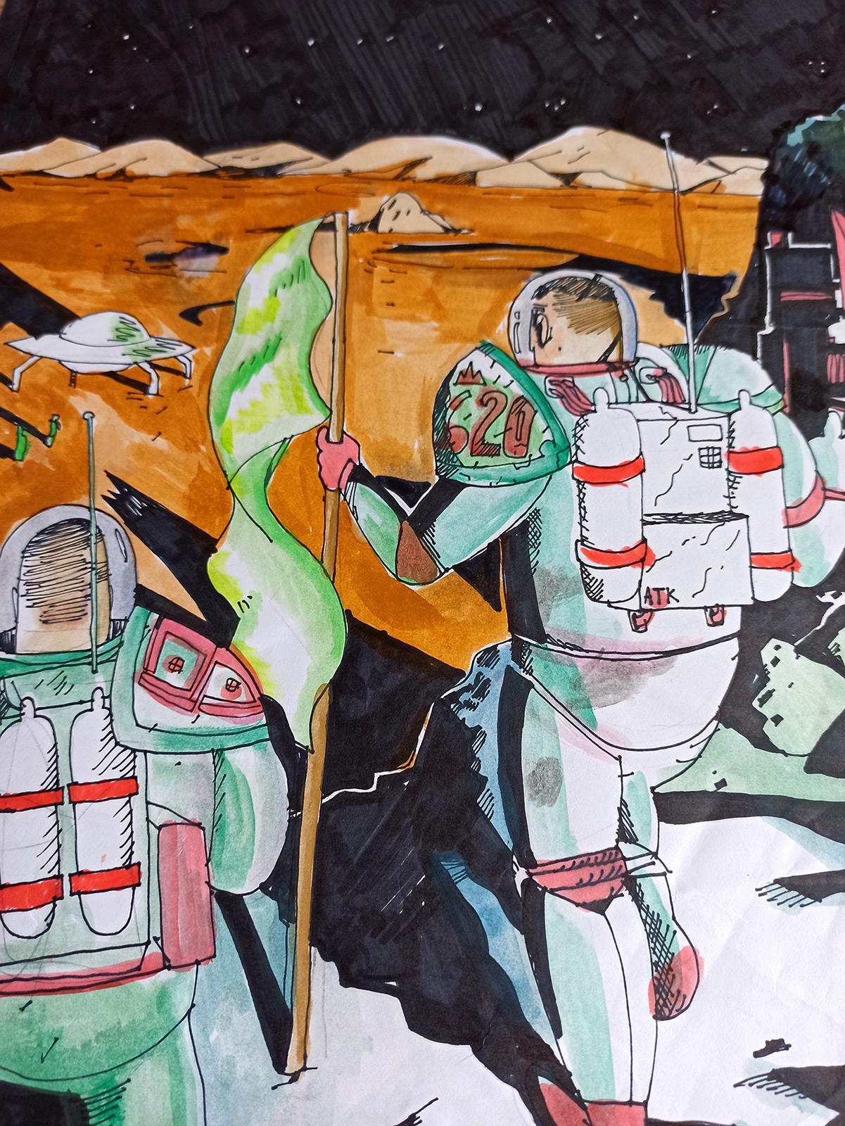 tegninger, børnevenlige, grafiske, illustrative, landskab, tegneserier, bevægelse, mennesker, videnskab, himmel, transportmidler, sorte, brune, grønne, røde, papir, tusch, samtidskunst, moderne, moderne-kunst, Køb original kunst og kunstplakater. Malerier, tegninger, limited edition kunsttryk & plakater af dygtige kunstnere.
