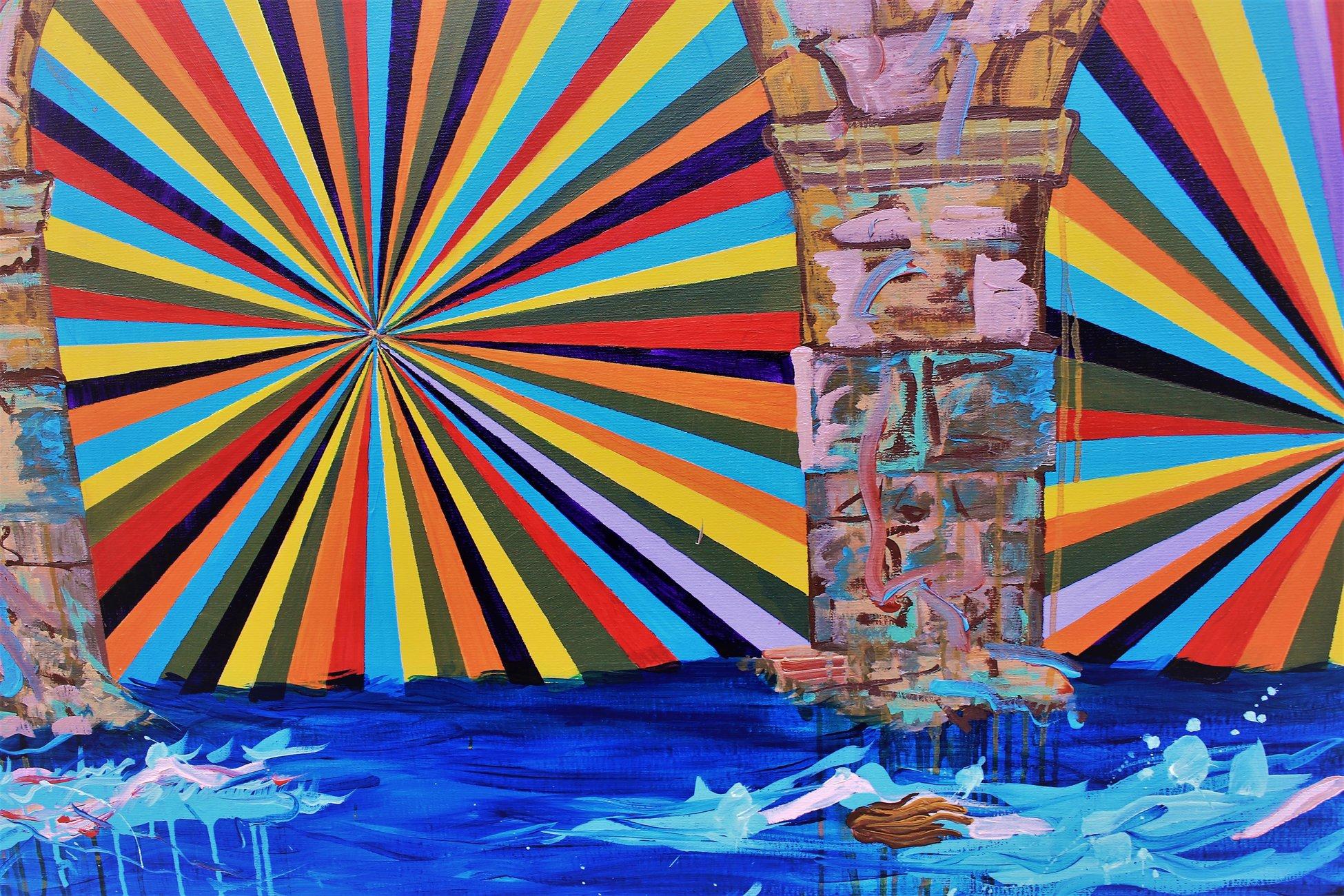 malerier, ekspressionistiske, figurative, portræt, arkitektur, blå, akryl, hørlærred, ekspressionisme, vand, Køb original kunst af den højeste kvalitet. Malerier, tegninger, limited edition kunsttryk & plakater af dygtige kunstnere.