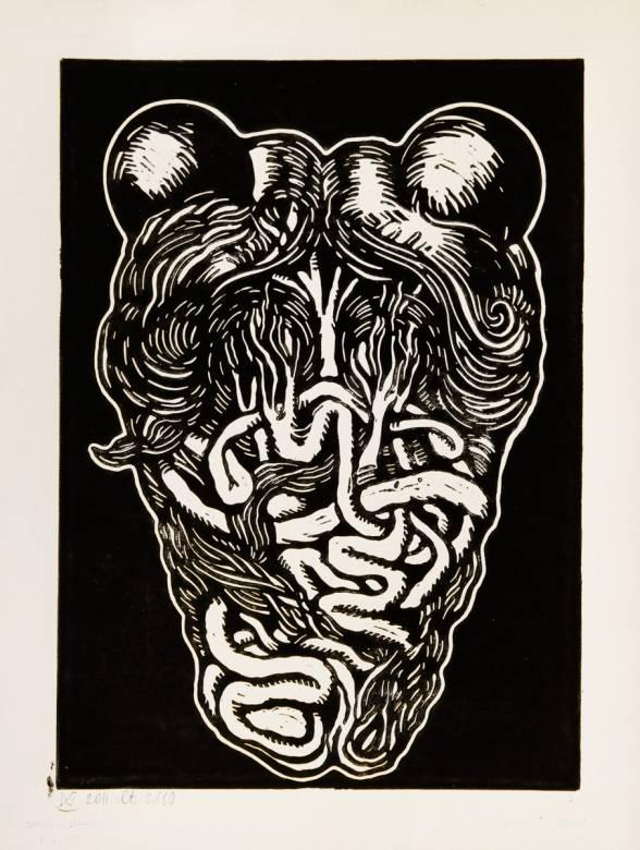 mickey mouse, abstrakt tegning, hjerte, sort, stærk, dyster, mørk, moderne, hype, talentfulde og dygtige kunstnere, original.