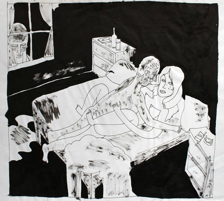 sex mand kvinde sort hvid dreng kigger på stærke og udtryksfulde kunst illustrationer og tegninger, dygtig dansk illustrator, tegner, faverige ttt