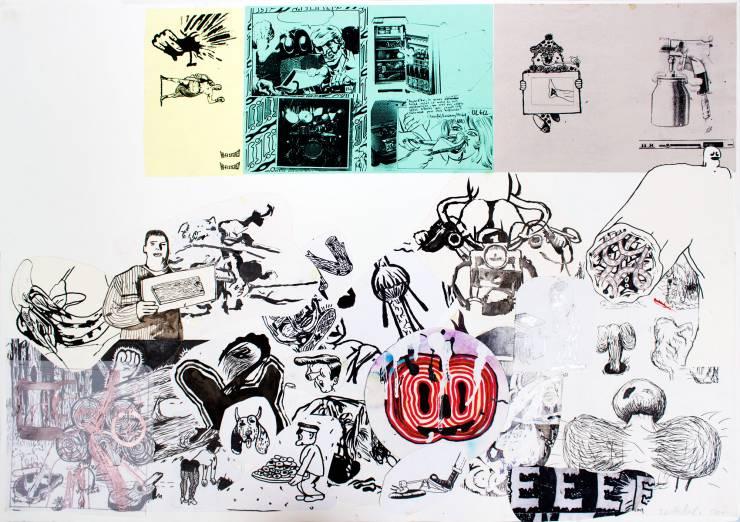 tegninger, collager, figurative, grafiske, illustrative, surrealistiske, tegneserier, humor, bevægelse, turkise, violette, hvide, gule, artliner, papir, tusch, andre-medier, abstrakte-former, københavn, dansk, dekorative, design, interiør, bolig-indretning, mænd, nordisk, skandinavisk, Køb original kunst og kunstplakater. Malerier, tegninger, limited edition kunsttryk & plakater af dygtige kunstnere.