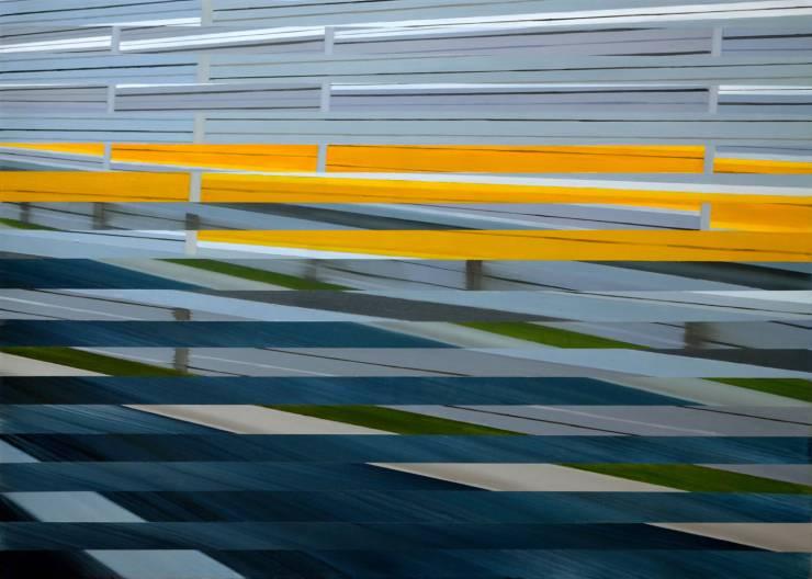 malerier, abstrakte, geometriske, arkitektur, bevægelse, mønstre, blå, grå, gule,  bomuldslærred, olie, arkitektoniske, bygninger, sceneri, gader, Køb original kunst af den højeste kvalitet. Malerier, tegninger, limited edition kunsttryk & plakater af dygtige kunstnere.
