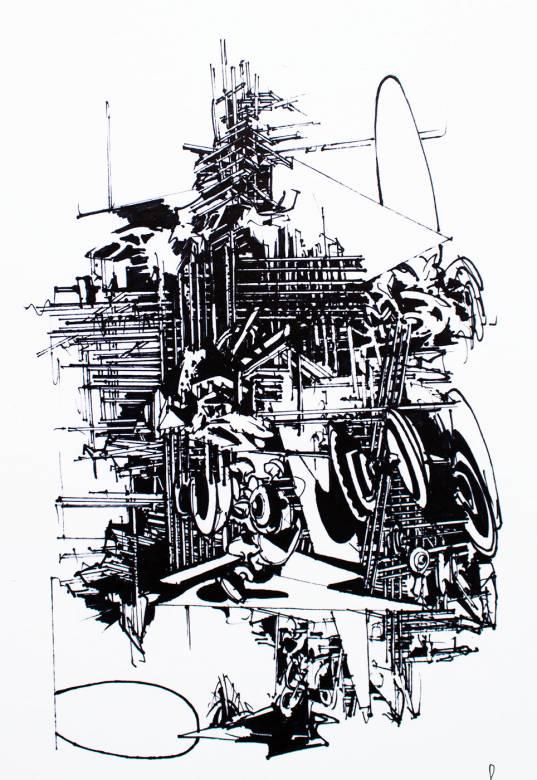 plakater-posters-kunsttryk, giclee-tryk, abstrakte, geometriske, arkitektur, mønstre, sorte, hvide, blæk, papir, abstrakte-former, arkitektoniske, sort-hvide, bygninger, Køb original kunst og kunstplakater. Malerier, tegninger, limited edition kunsttryk & plakater af dygtige kunstnere.