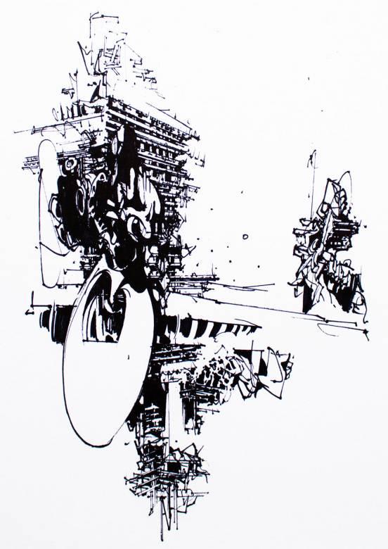 plakater-posters-kunsttryk, giclee-tryk, abstrakte, geometriske, monokrome, arkitektur, mønstre, sorte, hvide, blæk, papir, abstrakte-former, arkitektoniske, sort-hvide, bygninger, Køb original kunst og kunstplakater. Malerier, tegninger, limited edition kunsttryk & plakater af dygtige kunstnere.